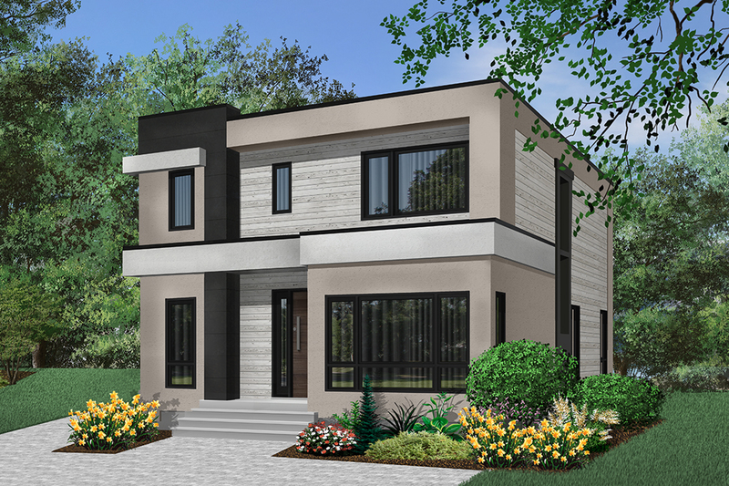 Contemporary Style House Plan - 3 Beds 2.5 Baths 2063 Sq/Ft Plan #23-2646 Exterior - Front Elevation