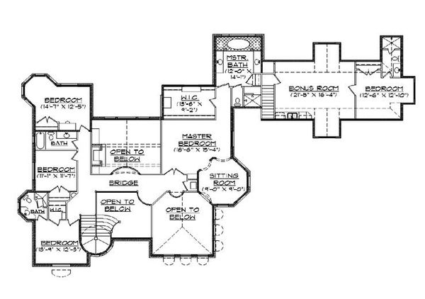 European Floor Plan - Upper Floor Plan Plan #5-447