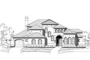 Mediterranean Style House Plan - 4 Beds 3.5 Baths 4955 Sq/Ft Plan #411-641 Exterior - Front Elevation