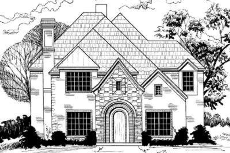 European Style House Plan - 5 Beds 3.5 Baths 3512 Sq/Ft Plan #317-120 Exterior - Front Elevation