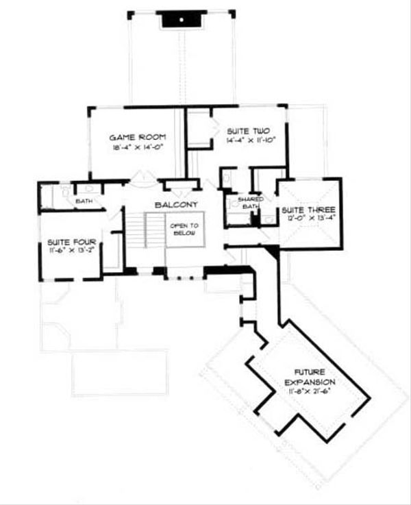 European Floor Plan - Upper Floor Plan Plan #413-116