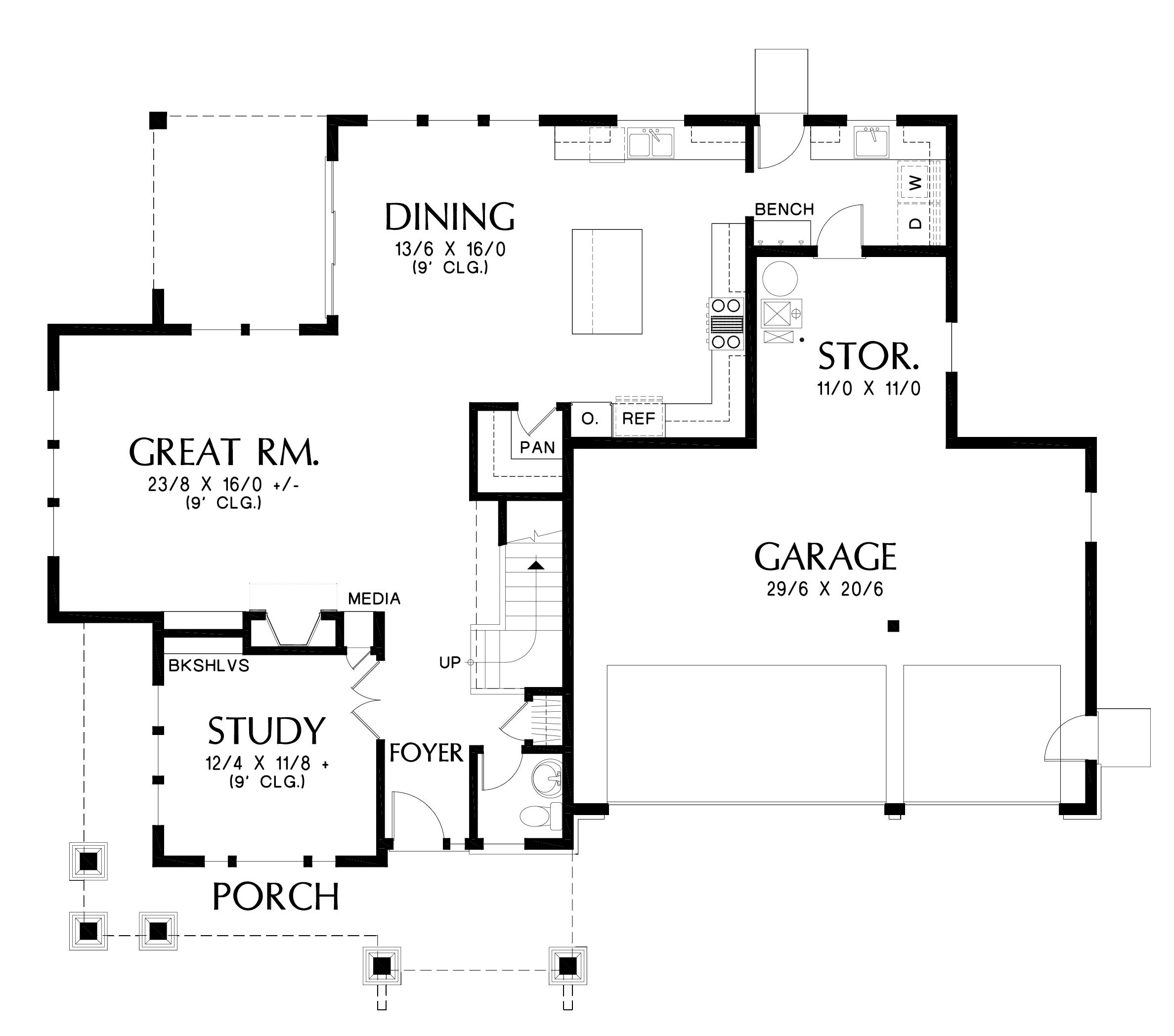 Craftsman Floor Plan - Main Floor Plan Plan #48-1002