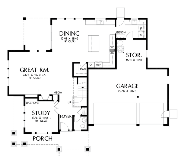 House Plan Design - Craftsman Floor Plan - Main Floor Plan #48-1002