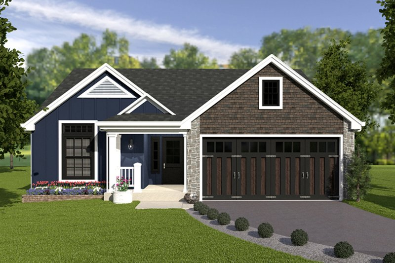 House Plan Design - Craftsman Exterior - Front Elevation Plan #57-671