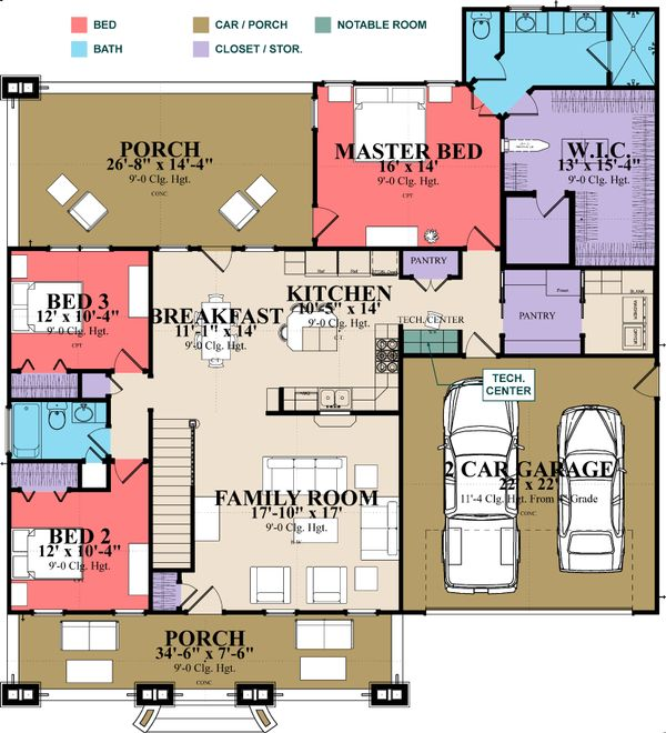 Country Floor Plan - Main Floor Plan Plan #63-397