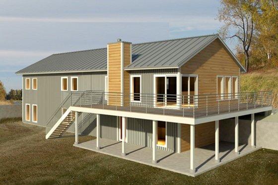 House Blueprint - Beach Exterior - Front Elevation Plan #497-1
