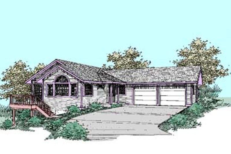Traditional Style House Plan - 3 Beds 3 Baths 2439 Sq/Ft Plan #60-431 Exterior - Front Elevation