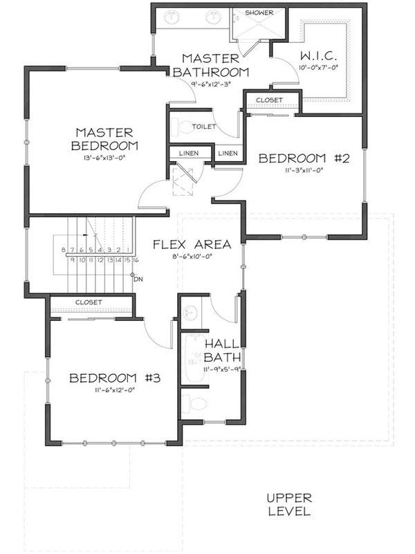 Craftsman style house plan, upper level floor plan
