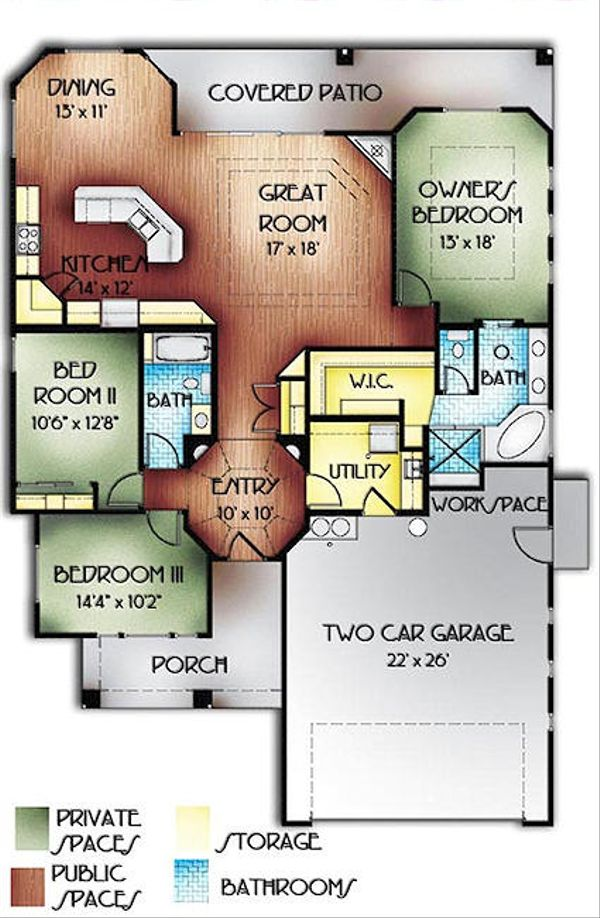 Mediterranean Floor Plan - Main Floor Plan Plan #24-238