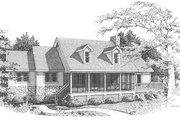 Country Style House Plan - 3 Beds 2 Baths 1472 Sq/Ft Plan #10-287 Exterior - Front Elevation
