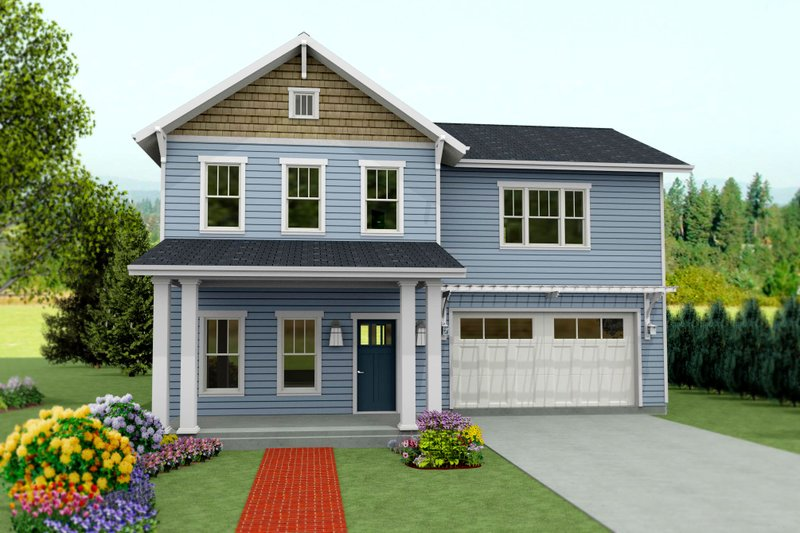 Craftsman Style House Plan - 4 Beds 3 Baths 2688 Sq/Ft Plan #461-44 Exterior - Front Elevation