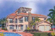European Style House Plan - 3 Beds 4 Baths 3234 Sq/Ft Plan #420-138 Exterior - Front Elevation
