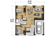 Contemporary Style House Plan - 2 Beds 1 Baths 1211 Sq/Ft Plan #25-4371 Floor Plan - Main Floor Plan