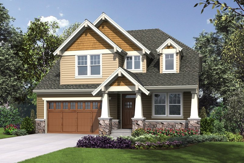 Cottage Exterior - Front Elevation Plan #48-1018