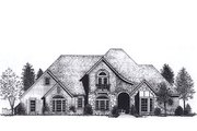 European Style House Plan - 4 Beds 4 Baths 3358 Sq/Ft Plan #310-937 Exterior - Front Elevation