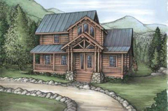 Log Exterior - Front Elevation Plan #115-155