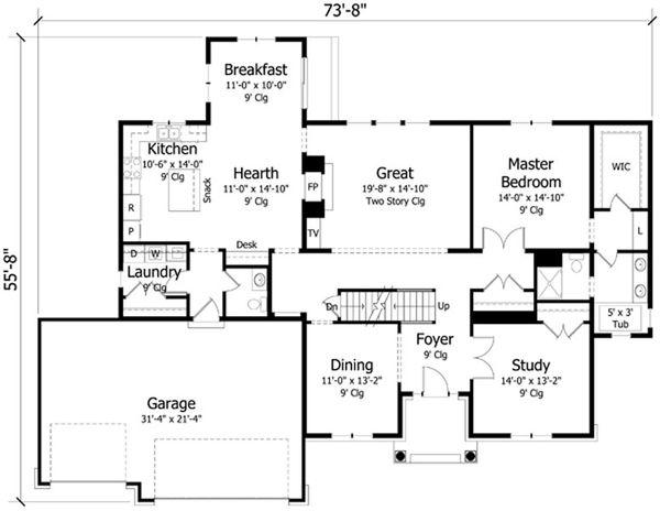 Traditional Floor Plan - Main Floor Plan Plan #51-387