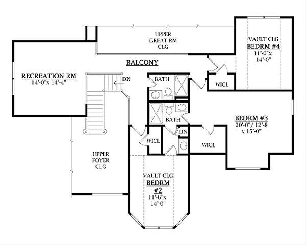Traditional Floor Plan - Upper Floor Plan Plan #456-26