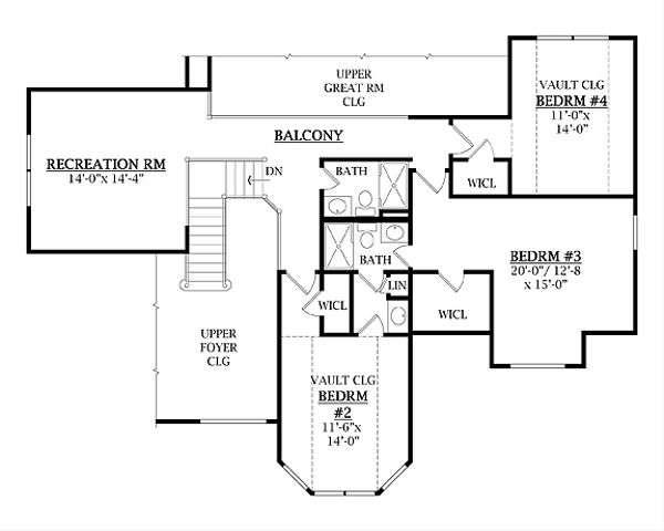 Traditional Floor Plan - Upper Floor Plan #456-26