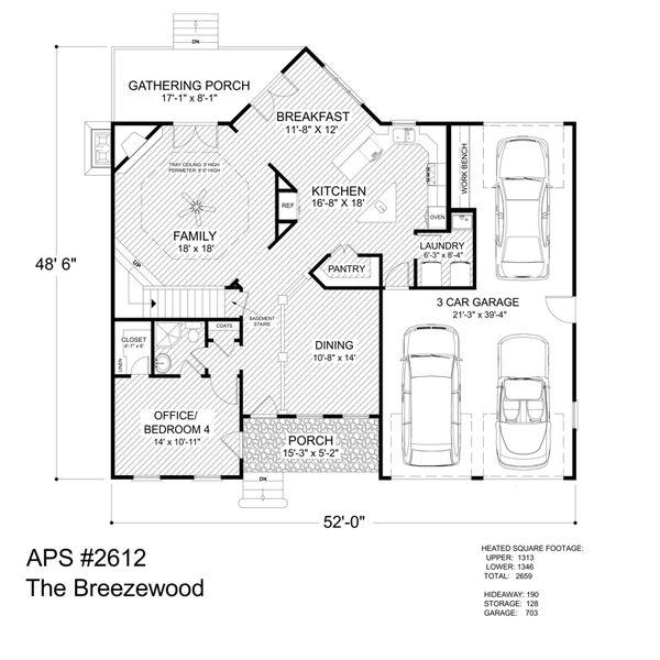 Craftsman Floor Plan - Main Floor Plan Plan #56-707