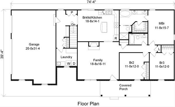 Ranch Floor Plan - Main Floor Plan Plan #22-517
