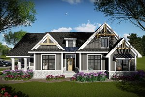 Craftsman Exterior - Front Elevation Plan #70-1493