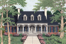 Southern style house, traditional design, front elevation