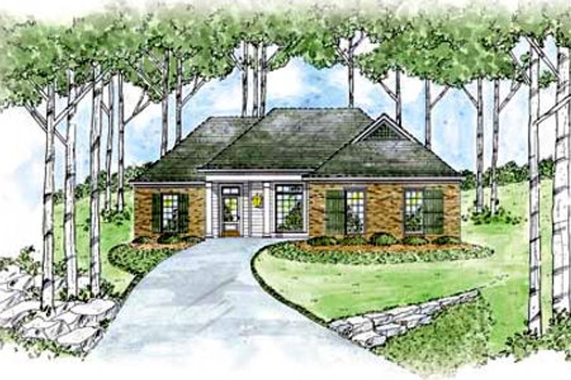 Traditional Style House Plan - 3 Beds 2 Baths 1414 Sq/Ft Plan #36-130 Exterior - Front Elevation