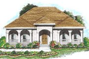 Mediterranean Style House Plan - 2 Beds 2 Baths 1343 Sq/Ft Plan #20-1366 Exterior - Front Elevation