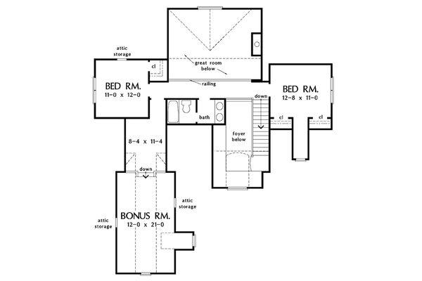 Architectural House Design - European Floor Plan - Upper Floor Plan #929-34