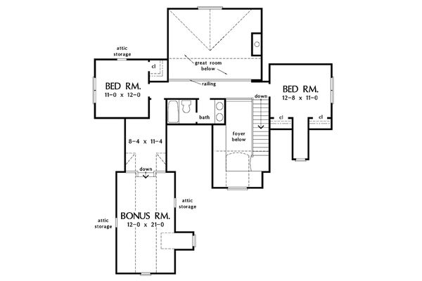 European Floor Plan - Upper Floor Plan Plan #929-34