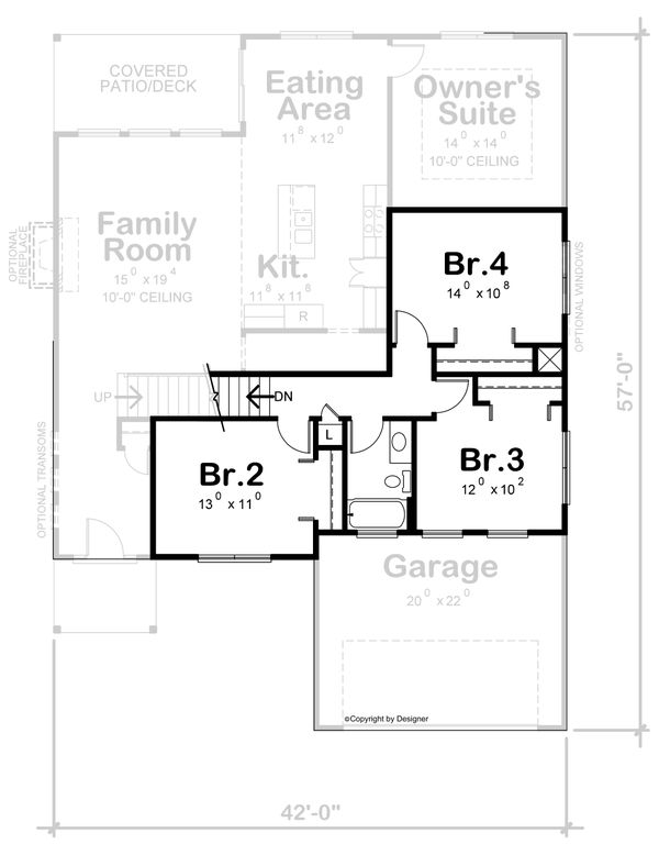House Plan Design - Contemporary Floor Plan - Upper Floor Plan #20-2430