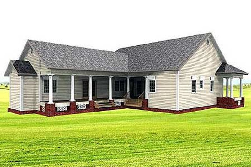 Country Exterior - Rear Elevation Plan #44-121 - Houseplans.com