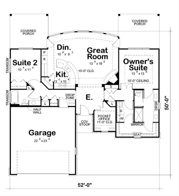 European Floor Plan - Main Floor Plan Plan #20-2068