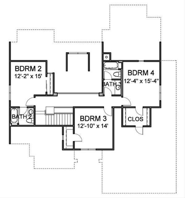 Traditional Floor Plan - Upper Floor Plan Plan #490-39