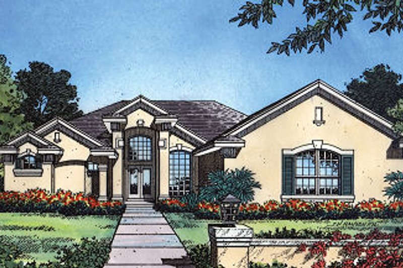 European Style House Plan - 4 Beds 3 Baths 2355 Sq/Ft Plan #417-245 Exterior - Front Elevation