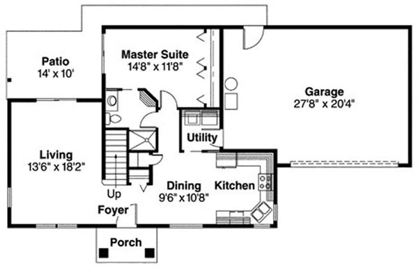 Craftsman Floor Plan - Main Floor Plan Plan #124-718