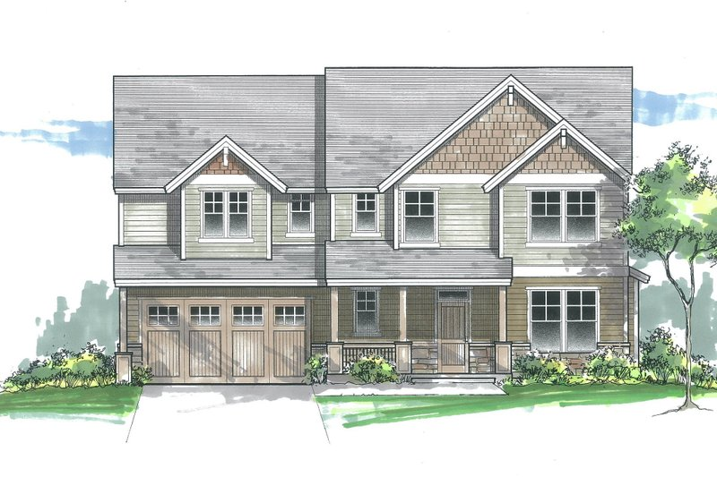 Craftsman Exterior - Front Elevation Plan #53-610