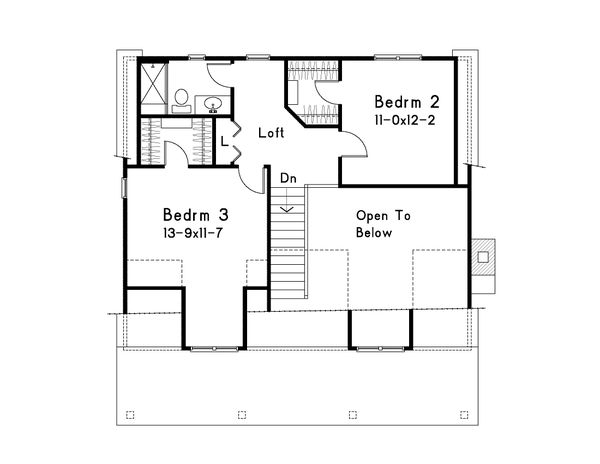 Dream House Plan - Country Floor Plan - Upper Floor Plan #22-582