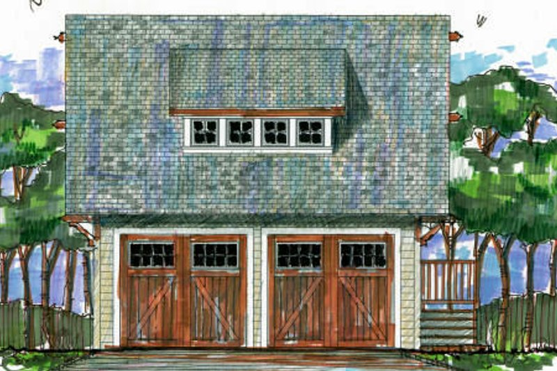 Craftsman Style House Plan - 1 Beds 1 Baths 387 Sq/Ft Plan #426-10 Exterior - Front Elevation