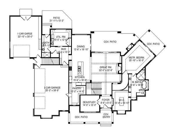 Craftsman Floor Plan - Main Floor Plan Plan #920-96