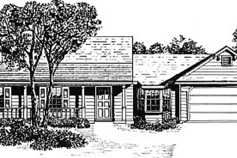 Architectural House Design - Country Exterior - Front Elevation Plan #14-134