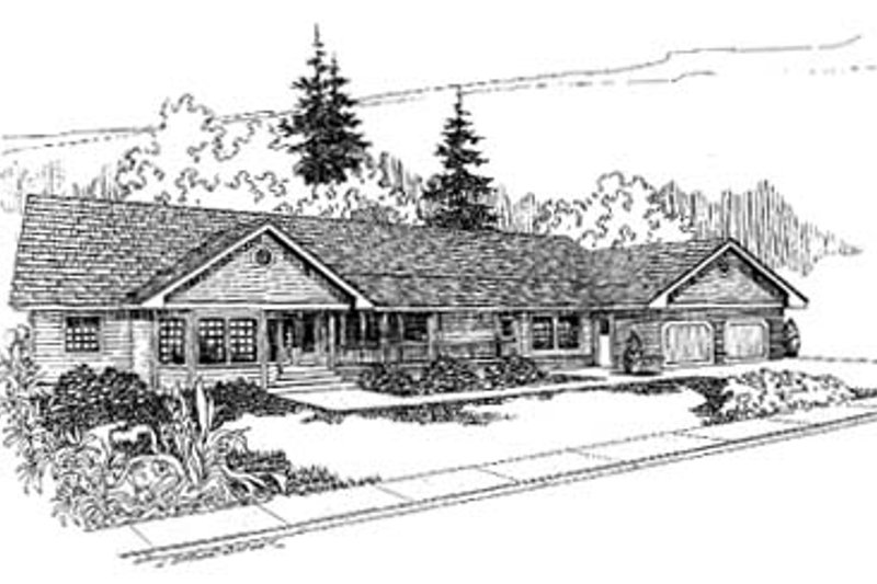 Ranch Style House Plan - 3 Beds 3.5 Baths 2371 Sq/Ft Plan #60-159 Exterior - Front Elevation