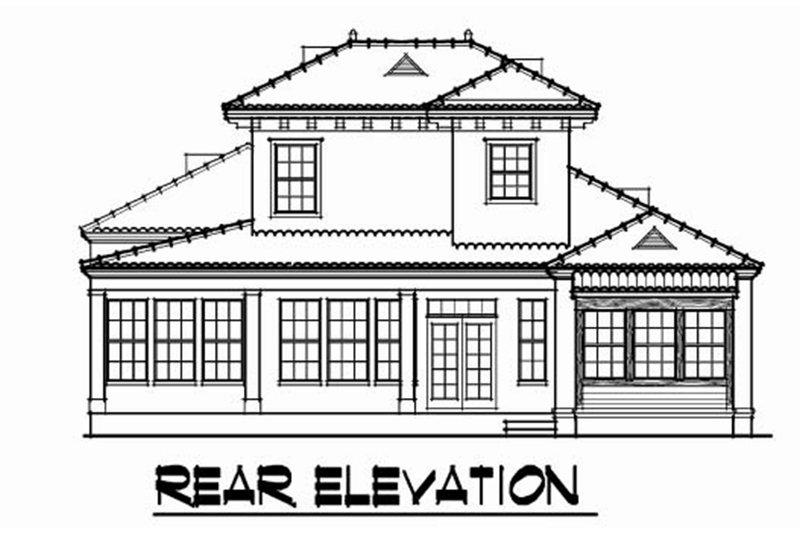 Mediterranean Exterior - Rear Elevation Plan #76-107 - Houseplans.com