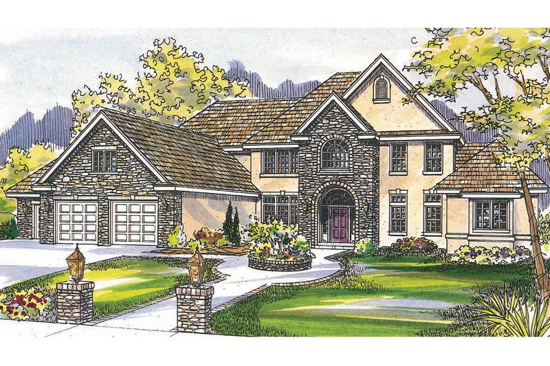Home Plan - European Exterior - Front Elevation Plan #124-461