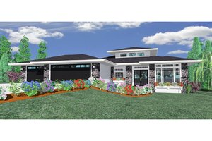 Modern Exterior - Front Elevation Plan #509-12