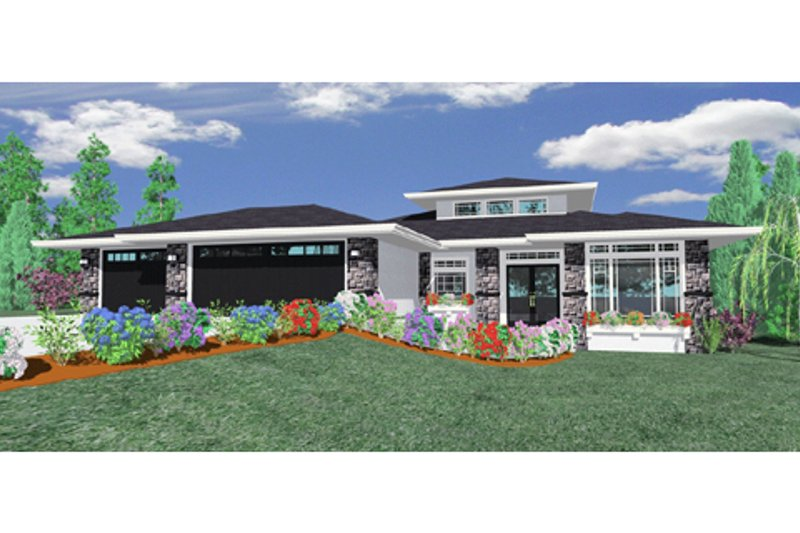 Modern Style House Plan - 3 Beds 2.5 Baths 2529 Sq/Ft Plan #509-12 Exterior - Front Elevation