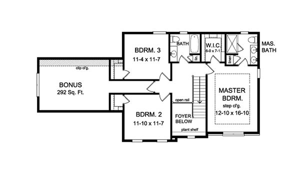 Colonial Floor Plan - Upper Floor Plan Plan #1010-208
