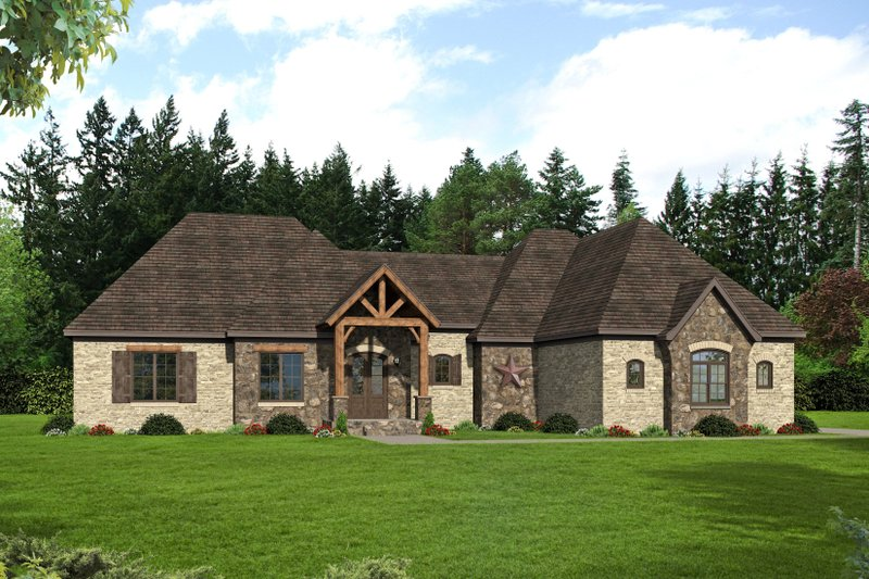 Country Exterior - Front Elevation Plan #932-125