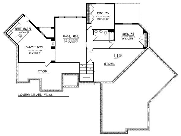 Craftsman Floor Plan - Lower Floor Plan Plan #70-1130